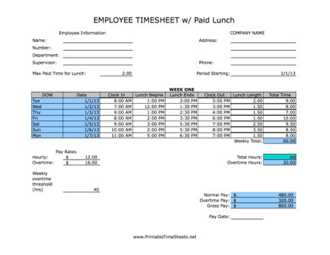 biweekly paid lunch printable time sheet weekly paid lunch printable time sheet