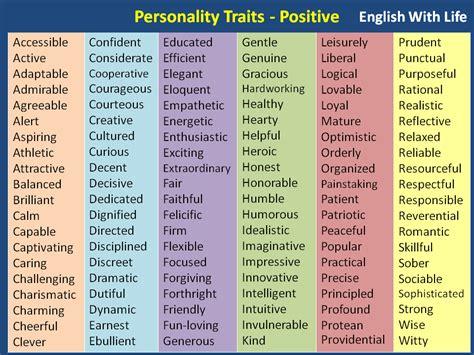 personality traits positive language esl efl