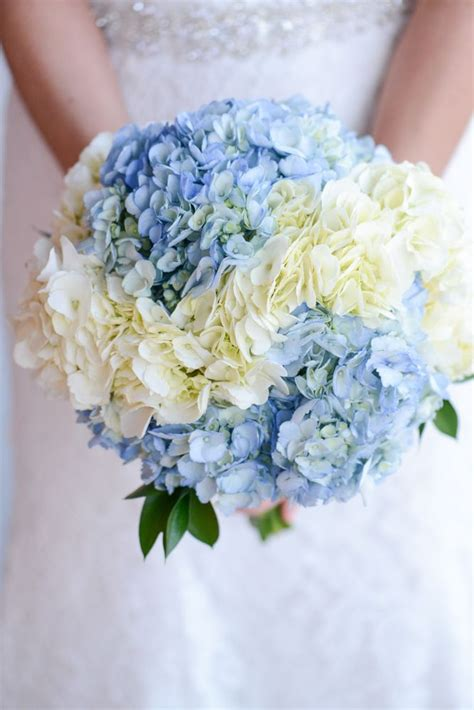 white and blue hydrangea bouquet