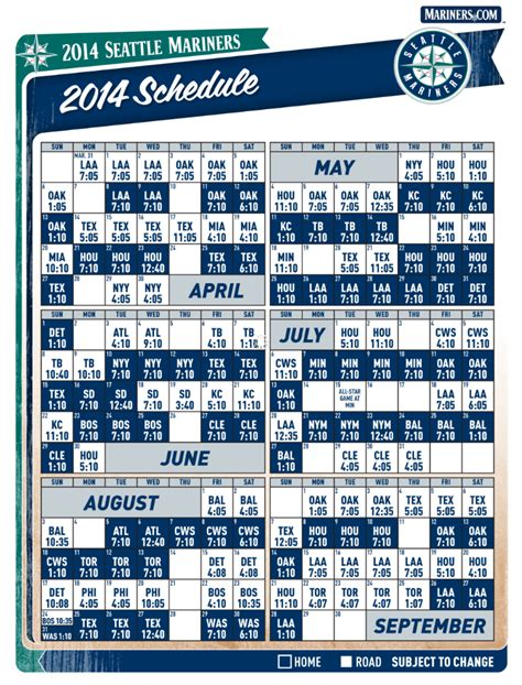 image gallery mariners schedule