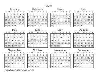 printable yearly calendar 2019 download 2019 printable calendars