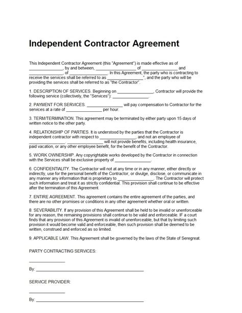 simple independent contractor agreement template independent contractor agreement template free