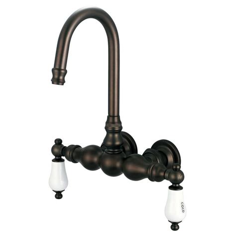 bathtub wall faucet water creation 2 handle wall mount claw foot tub faucet with labeled porcelain lever handles in