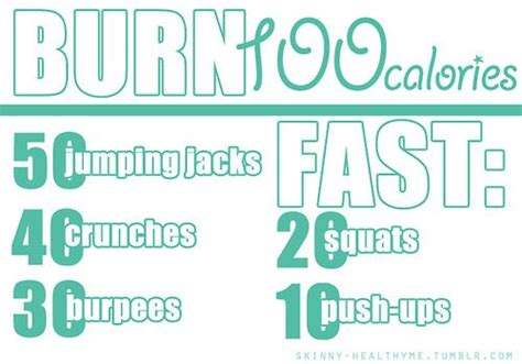 burn 100 calories fast fitness and nutrition