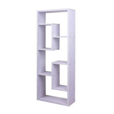 wooden asymmetrical cube bookcase white