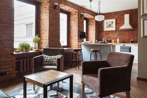Attractive White Dining Table #4: Renovated-studio-apartment-exposed-brick-wall.jpg