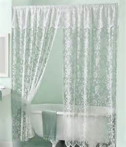 Bathroom Curtains With Attached Valance New White Lace Shower Curtain W Attached
