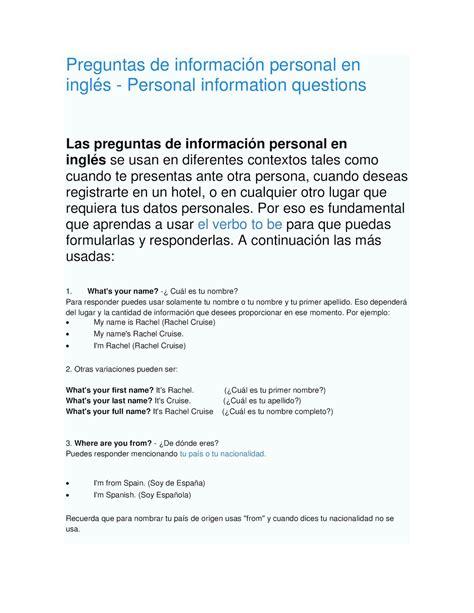 preguntas en ingles hotel calam 233 o preguntas de informaci 243 n personal en ingl 233 s