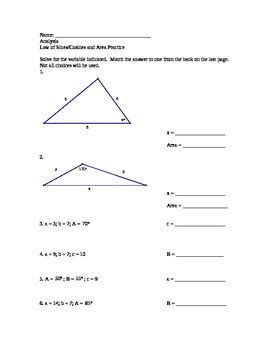 Of Cosines Practice Worksheet by Of Sines And Cosines Practice Worksheet With Answer