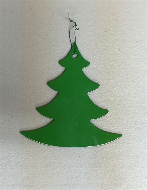 set of 3 metal christmas tree ornaments