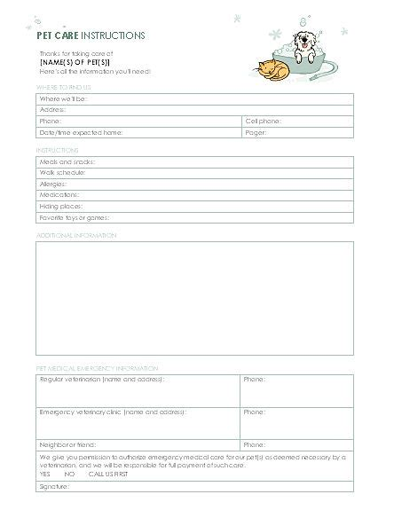 pet care instructions templates office com pet