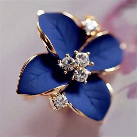 Blue Earring blue flower gold plated earrings