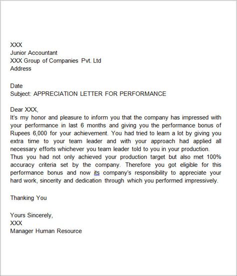 appreciation letter performance thank you letters for appreciation 24 exles in pdf word