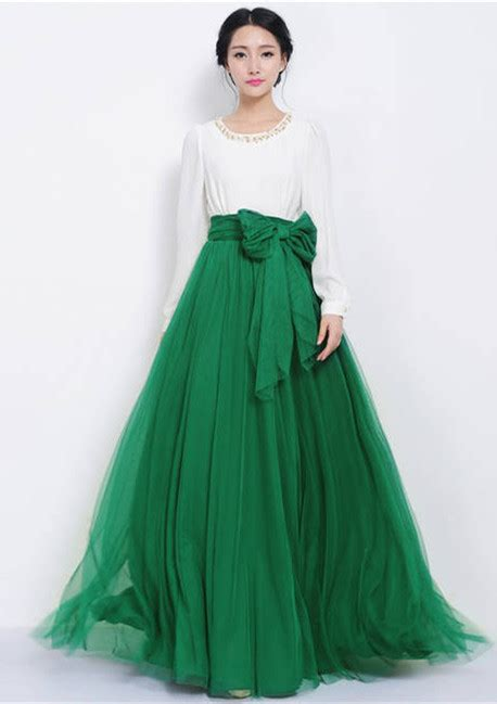 green high waisted maxi skirt dress ala