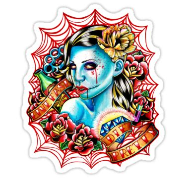 tattoo girl png traditional zombie girl with roses ans banners on net