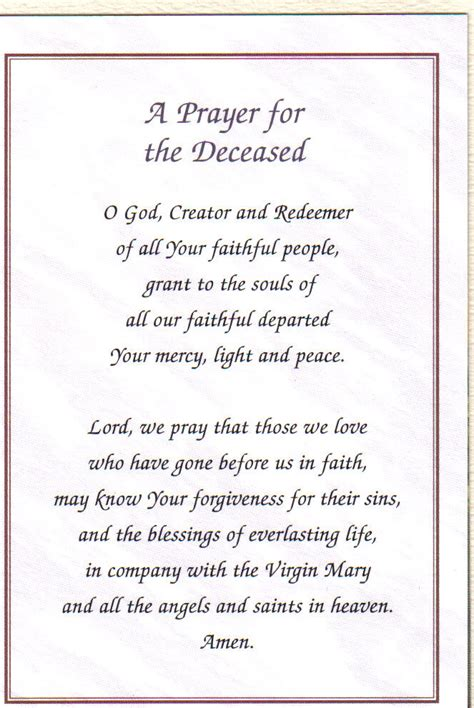 Prayer Of Comfort At A Funeral by Prayers For The Dead Invitations Ideas
