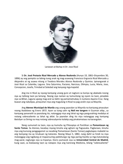 Biography Ni Jose Rizal | larawan at buhay ni dr jose rizal