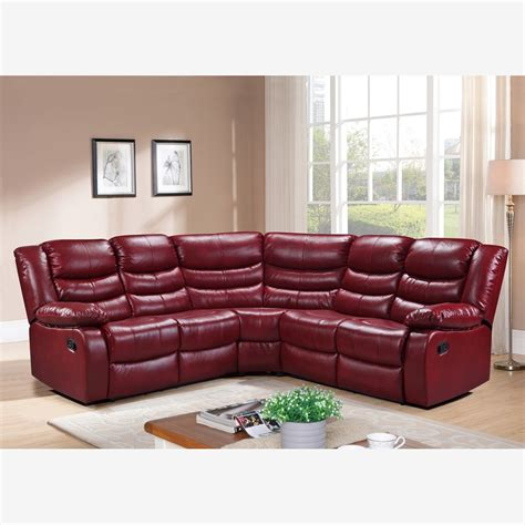 Belfast Corner Sofa Recliner In Cranberry Red Bonded Leather Leather Corner Sofa Recliner