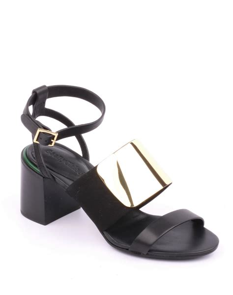 black and gold sandals see by chlo 233 block heel black gold sandals shoe on the