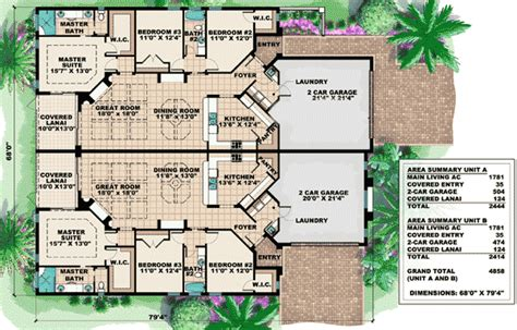 multi family homes floor plans mediterranean multi family house plan 66174gw 1st