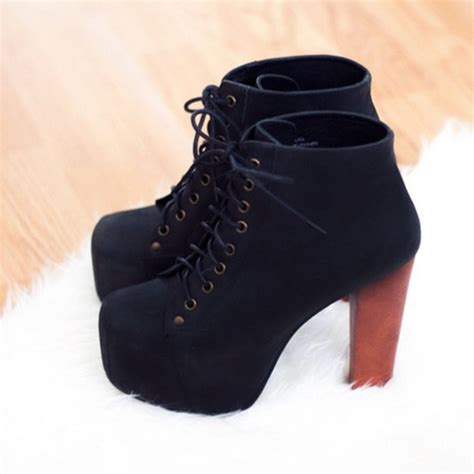 shoes laces brown black high heels wooden wedges