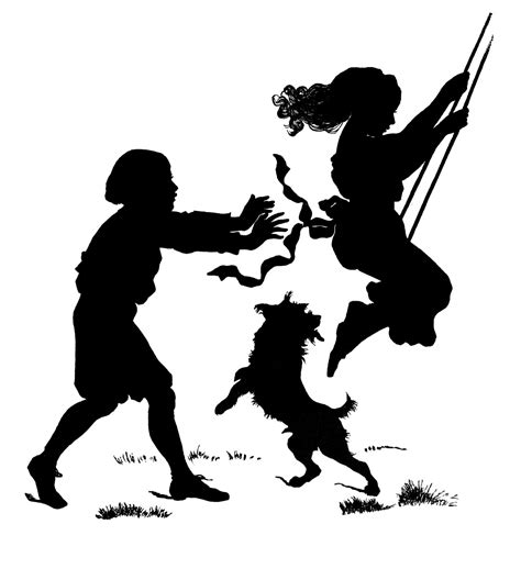 kindness swinging party vintage clip art children with dog silhouette the