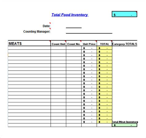 grocery inventory template sle food inventory 10 document in pdf excel