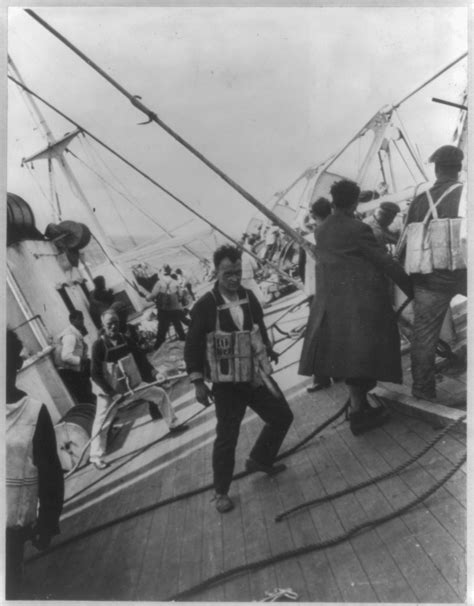 titanic collapsible boat b photo from the vestris disaster shows crew and passengers