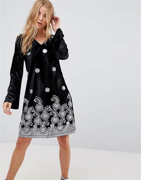 glamorous swing dress glamorous long sleeve swing dress in velvet with premium