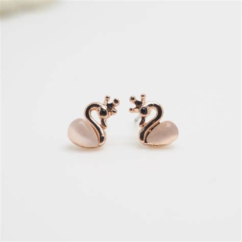 gold swan earring animal earrings earrings