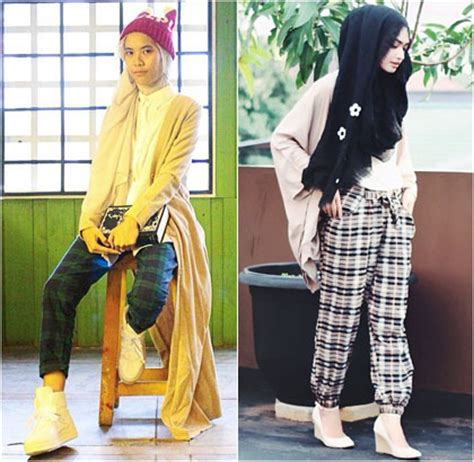 Celana Ala Zaskia Sungkar foto padu padan dan celana motif kotak ala selebgram
