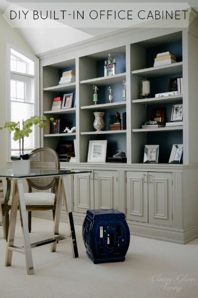 built in home office cabinets diy built in office cabinet glam living