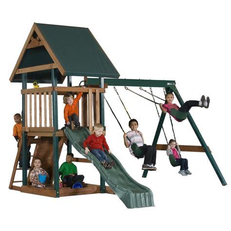 lifetime swing set sale wood playset with swings sandbox slide mongoose manor