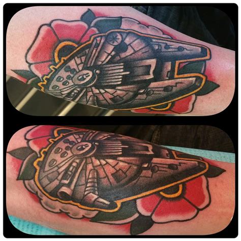 millennium falcon tattoo millennium falcon space and flower by nick