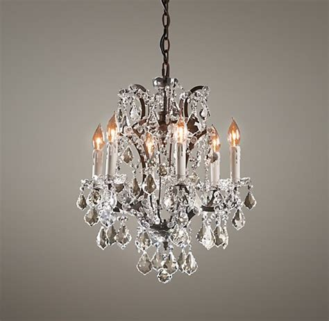 19th C Rococo Iron Crystal Small Chandelier Baby Chandeliers