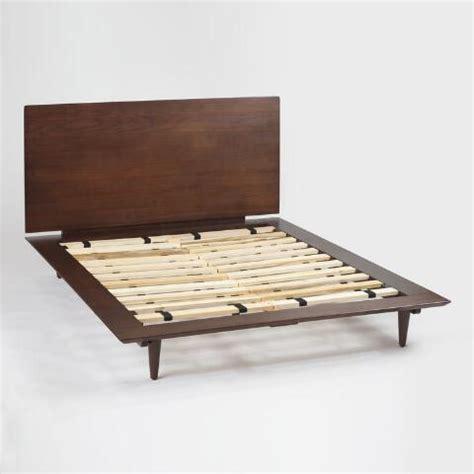 world market bed frame walnut brown wood barrett queen bed world market