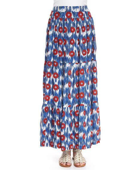 christophe sauvat ikat print tiered maxi skirt neiman