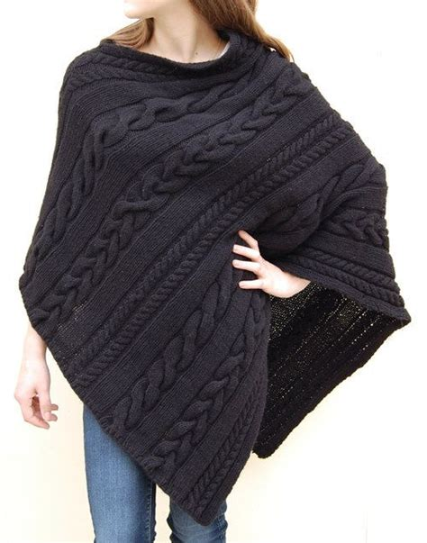 knitted poncho patterns dianne cabled poncho pattern by jenniferwenger on etsy