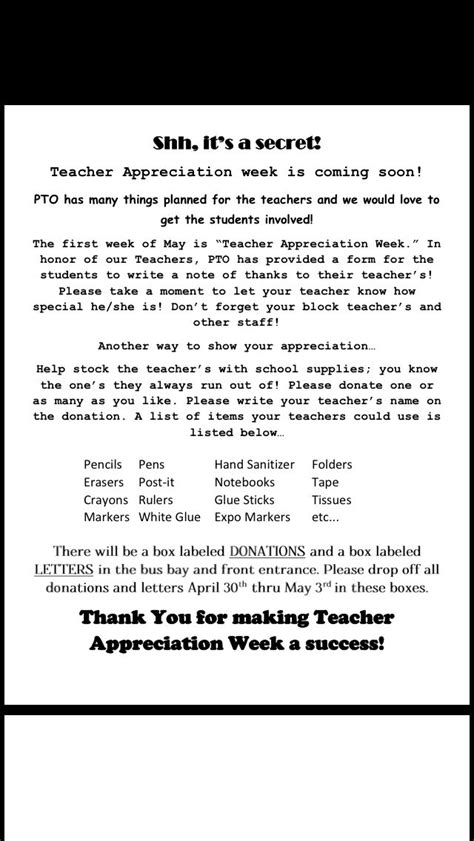 appreciation letter to a from student pto appreciation letter i created to send home