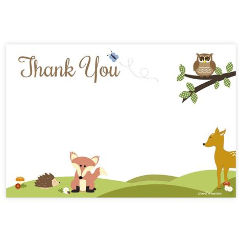 Thank You Letter Veterinarian woodland animals thank you cards m h invites
