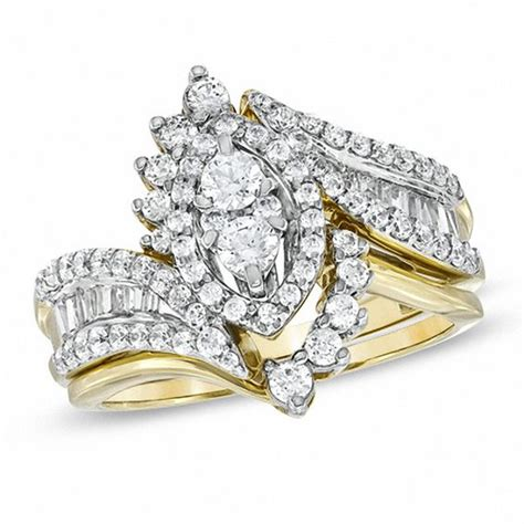 1 ct bridal set 1 ct t w marquise cluster bridal set in 14k gold