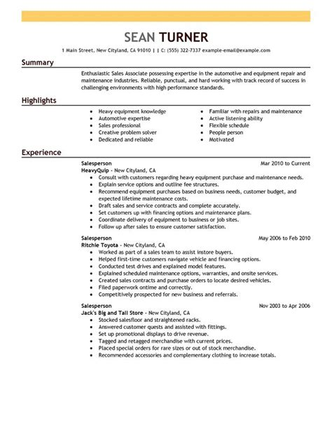 Resume Sles For Maintenance Unforgettable Salesperson Resume Exles To Stand Out Myperfectresume