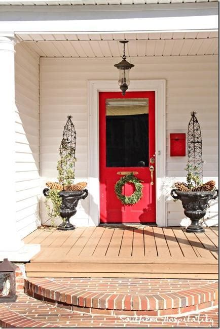 front door decoration  red colors  house exterior design ideas