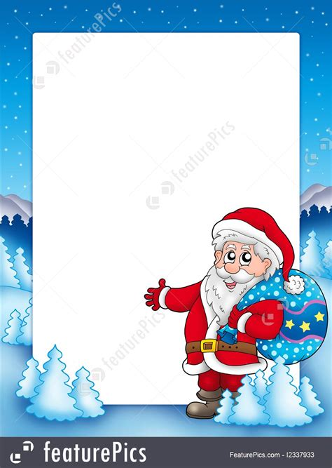 holidays christmas frame  santa claus  stock illustration   featurepics