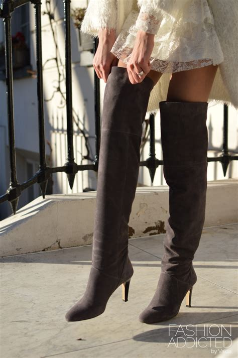 grey   knee suede boots fashion addicted