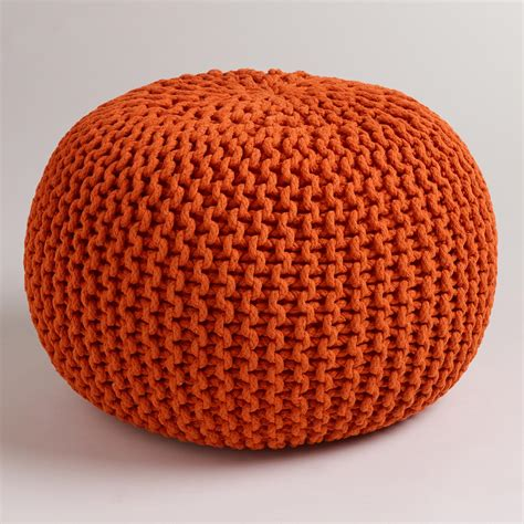 orange pouf ottoman jafra orange knitted pouf world market