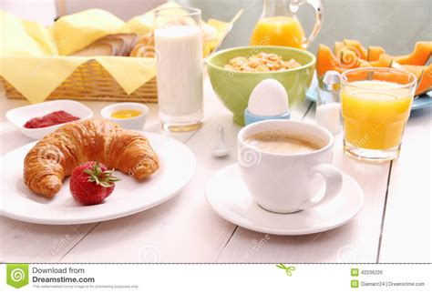 how to set a table for breakfast table set for breakfast with healthy food stock photo
