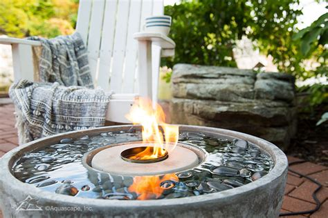 aquascape water features fire fountain fire feature self contained water features