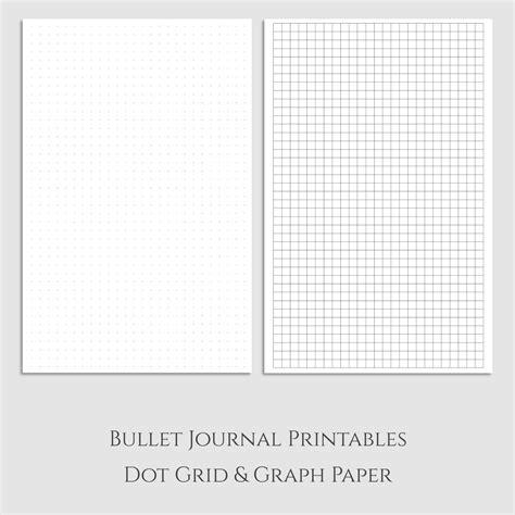 printable graph paper half sheet bullet journal dot grid and graph paper printables half