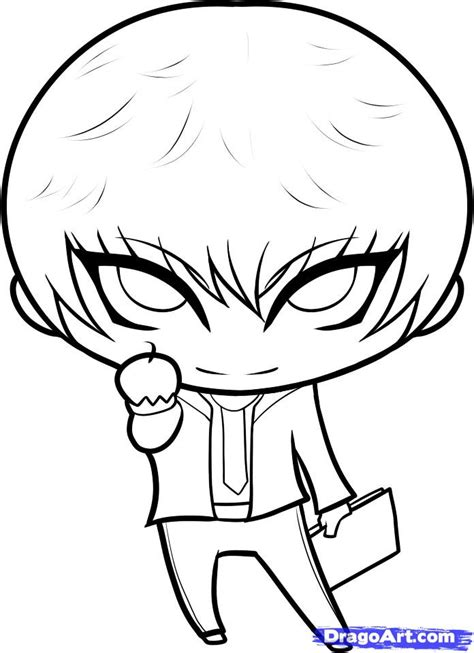 step by step death note hairstyle how to draw chibi light light yagami step by step